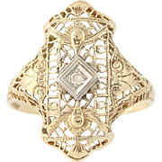 Art Deco Diamond Ring - 14k Yellow & White Gold Filigree Vintage .02ct