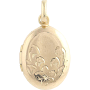Etched Oval Locket - 14k Yellow Gold Initial S Monogram Floral Design Opens