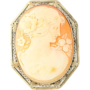 Vintage Carved Shell Cameo Brooch - 14k Gold Convertible to Pendant