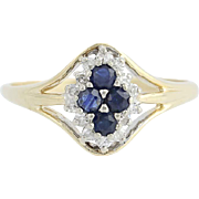 Sapphire & Diamond Ring - 14k Yellow Gold September Halo .62ctw