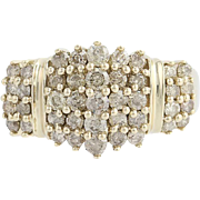 Diamond Cluster Ring - 10k Yellow Gold Champagne Brown 1.00ctw