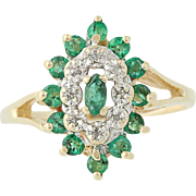Emerald & Diamond Cluster Ring - 10k Yellow & White Gold May Gift Halo .60ctw