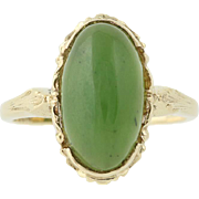 Vintage Nephrite Jade Ring - 10k Yellow Gold Size 6 1/2 Women's