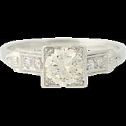 Art Deco Diamond Engagement Ring - 900 Platinum European Cut Vintage .59ctw