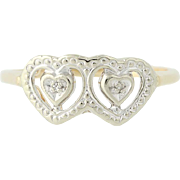 Vintage Double Heart Ring - 10k Yellow & White Gold Diamond Accents