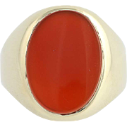 Carnelian Ring - 9k Yellow Gold Solitaire Women's Size 8