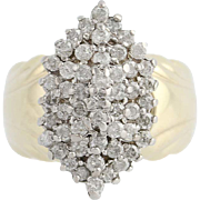 Diamond Cluster Cocktail Ring - 10k Yellow & White Gold Round Cut Tiered .75ctw