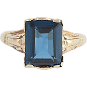 Vintage Synthetic Spinel Ring - 10k Yellow Gold Milgrain Solitaire 2.75ct