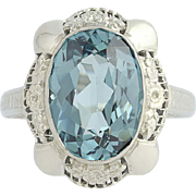 Vintage Synthetic Steel Blue Spinel Cocktail Ring - 14k Gold Solitaire 7.35ct