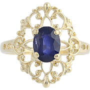 Sapphire Solitaire Ring - 14k Yellow Gold Size 8 September Birthstone 1.55ct