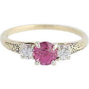 Vintage Synthetic Pink Sapphire & Diamond Ring - 14k Yellow & White Gold 1.03ctw