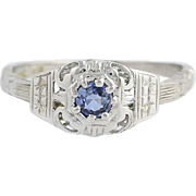 Art Deco Sapphire Ring - 18k White Gold Vintage Solitaire .28ct
