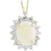 Opal & Diamond Halo Pendant - 14k Yellow & White Gold October Gift 1.34ctw