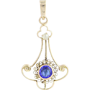 Art Deco Blue Glass & Seed Pearl Pendant - 10k Yellow Gold Vintage Lavalier