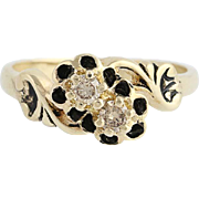 Floral Diamond Bypass Ring - 14k Yellow Gold Champagne Brown .16ctw