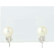 Cultured Pearl Earrings - 14k White Gold June Gift Non-Pierced Screw-On Backs