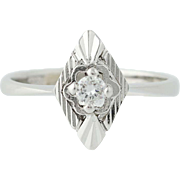 Diamond Ring - 18k White Gold Solitaire Round Cut April Birthstone .14ct