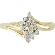 Diamond Bypass Ring - 14k Yellow Gold Tiered Size 8 Women's .25ctw