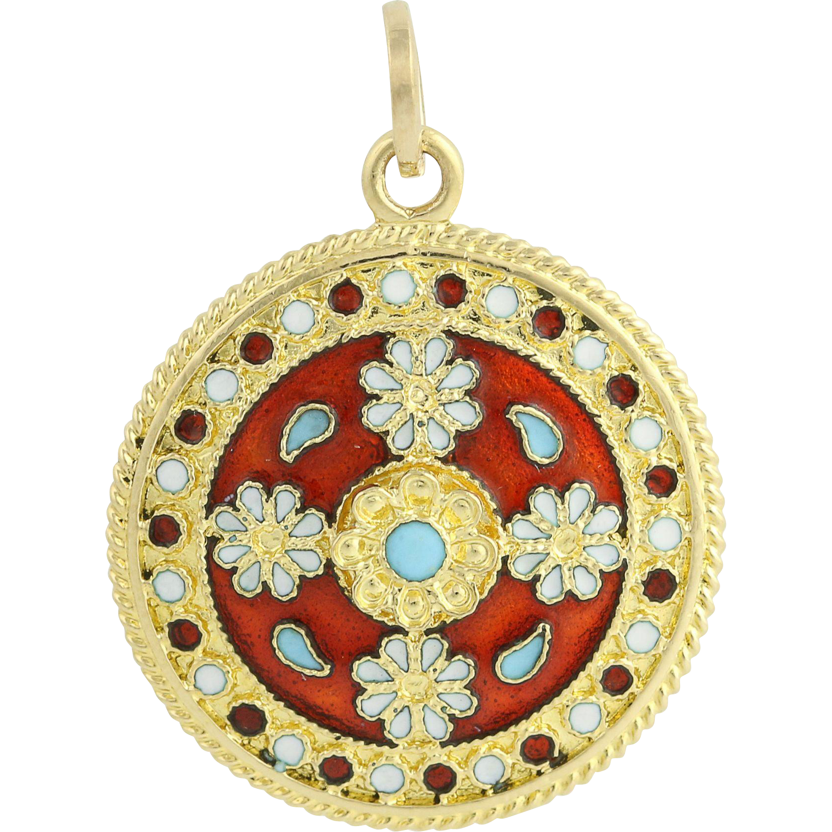 Ornate Enameled Pendant - 18k Yellow Gold Multi-Colored Floral