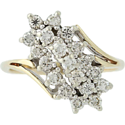 Diamond Cocktail Bypass Ring - 14k Yellow & White Gold Round Cut 1.00ctw