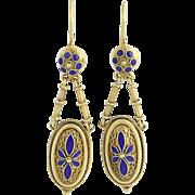 Victorian Etruscan Revival Drop Earrings - 15k Gold Blue Enamel Antique Pierced