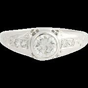 Art Deco Floral Diamond Engagement Ring Palladium Vintage 0.68ct Round Solitaire