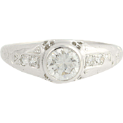 Art Deco Floral Diamond Engagement Ring Palladium Vintage 0.68ct Round Solitaire