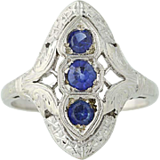 Art Deco Synthetic Sapphire Ring - 14k White Gold Women's Vintage .64ctw