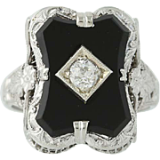 Art Deco Onyx & Diamond Ring - 14k White Gold European Cut Vintage .15ct