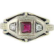 Art Deco Syn. Ruby & Diamond Ring - 14k Yellow & White Gold Vintage .05ctw