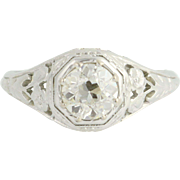 Art Deco Floral Diamond Engagement Ring - 18k White Gold Round Solitaire 0.77ct