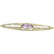 Art Deco Amethyst Brooch - 14k Yellow Gold February Birthstone Vintage 1.65ct
