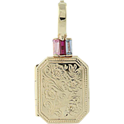 Syn. Pink Sapphire, Syn. Ruby, & Aquamarine Locket - 14k Gold Opens Two Frames