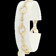 "Vintage Oval Link Bracelet - 10k Yellow Gold Women's 7.25"" Chased"