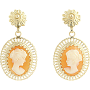 Cameo Dangle Earrings - 14k Yellow Gold Pierced Carved Shell Floral Vintage