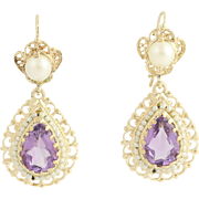 Amethyst & Pearl Drop Earrings - 14k Yellow Gold Halo Dangle Pierced Floral