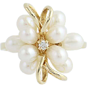 Freshwater Pearl & Diamond Cluster Ring - 14k Yellow Gold .04ct