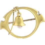Vintage Bell Brooch - 10k Yellow Gold Seed Pearl Accent