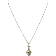 Art Deco Lavaliere Pendant Necklace - 14k Gold Diamond & Seed Pearls .10ct