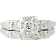 Vintage Diamond Engagement Ring & Wedding Band - 14k Gold Round Brilliant .27ctw