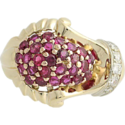 Retro Ruby & Diamond Cluster Ring - 14k Yellow & White Gold Vintage 3.37ctw