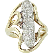 Vintage Diamond Bypass Ring - 14k Yellow & White Gold Mine Cut .52ctw