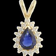 Sapphire & Diamond Pendant - 14k Yellow Gold September Halo .98ctw