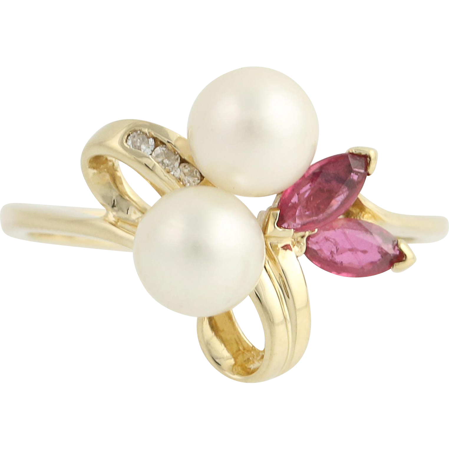 Cultured Pearl, Ruby, & Diamond Ring - 14k Yellow Gold June July .43ctw