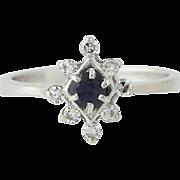 Sapphire & Diamond Ring - 14k White Gold September Birthstone .37ctw