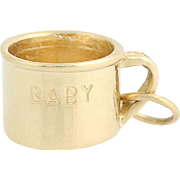 Baby Cup Charm - 14k Yellow Gold Vintage Keepsake Dangle Pendant 3D Mug