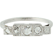 Unique Art Deco Diamond Ring - 14k White Gold Rose Cut Women's 0.36ctw Vintage
