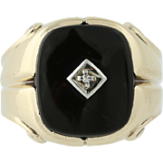 Onyx Men's Ring w/ Diamond Accent - 10k Yellow Gold