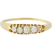Victorian Opal & Diamond Ring - 18k Yellow Gold Mine Cut Antique .23ctw