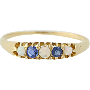 Victorian Opal & Sapphire Ring - 18k Yellow Gold Antique .26ctw